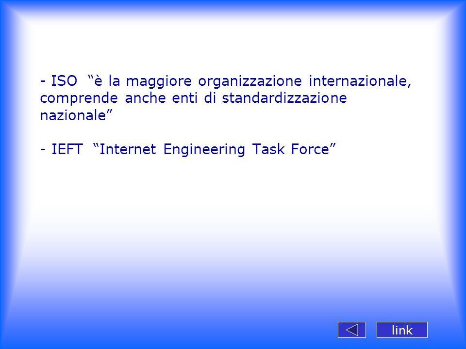 ISO è la maggiore organizzazione internazionale, comprende anche enti di standardizzazione nazionale - IEFT Internet Engineering Task Force