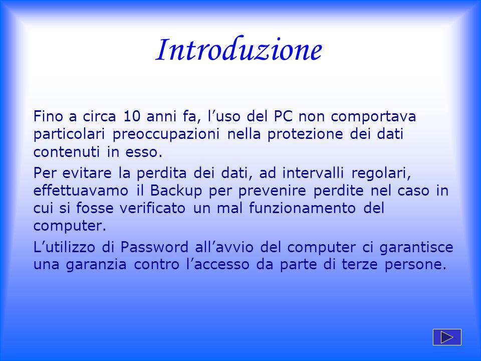 Introduzione Fino a circa 10 anni fa, l'uso del PC non comportava particolari preoccupazioni nella protezione dei dati contenuti in esso.