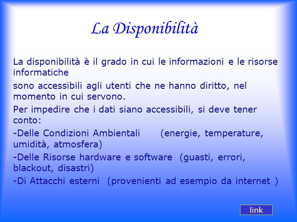 La Disponibilità La disponibilità è il grado in cui le informazioni e le risorse informatiche.