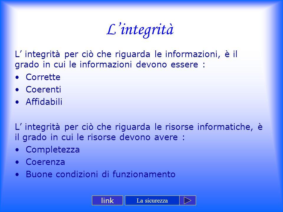 L'integrità L' integrità per ciò che riguarda le informazioni, è il grado in cui le informazioni devono essere :