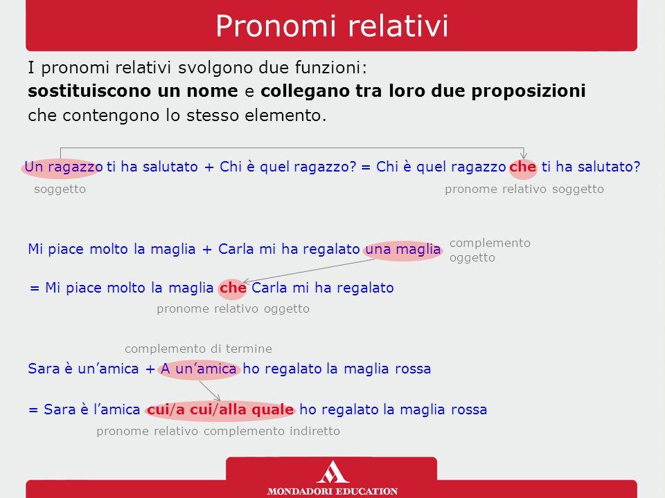 Pronomi relativi I pronomi relativi svolgono due funzioni: