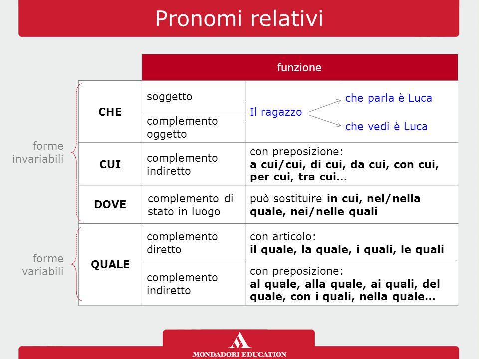 Pronomi relativi funzione CHE soggetto che parla è Luca Il ragazzo