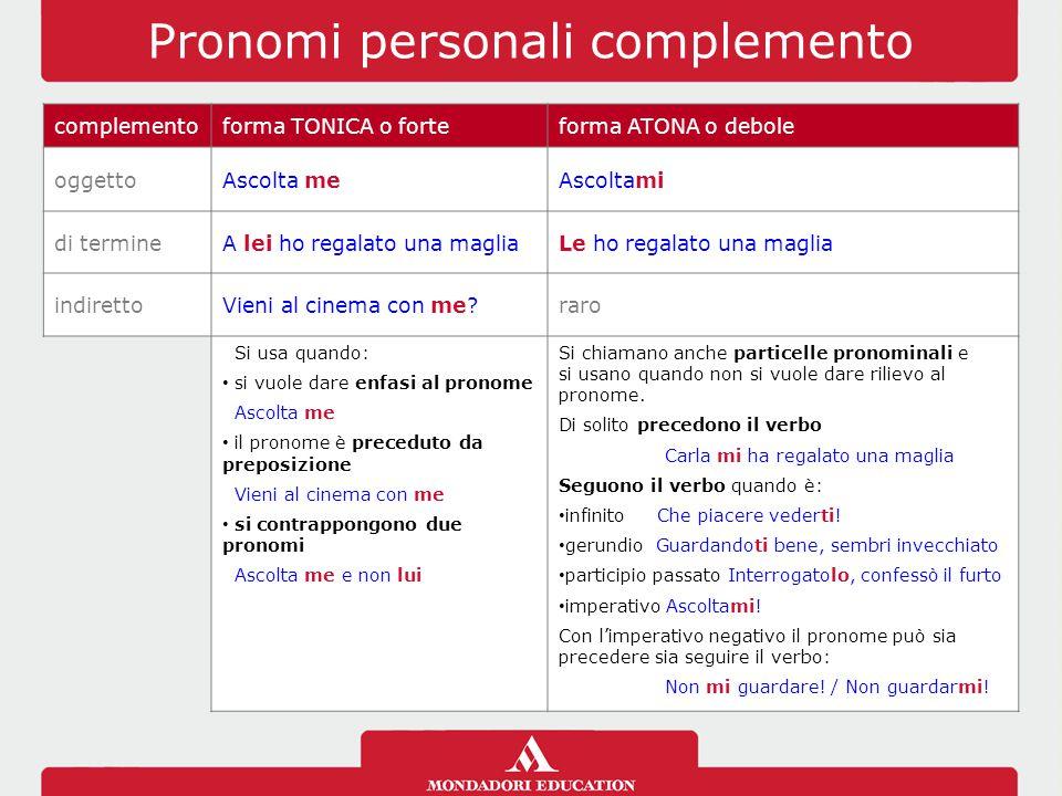 Pronomi personali complemento