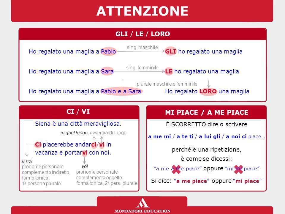 ATTENZIONE GLI / LE / LORO CI / VI MI PIACE / A ME PIACE