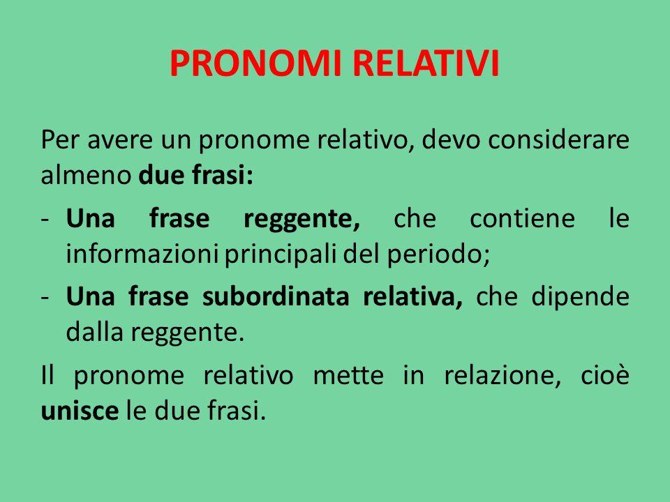 PRONOMI RELATIVI Per avere un pronome relativo, devo considerare almeno due frasi: