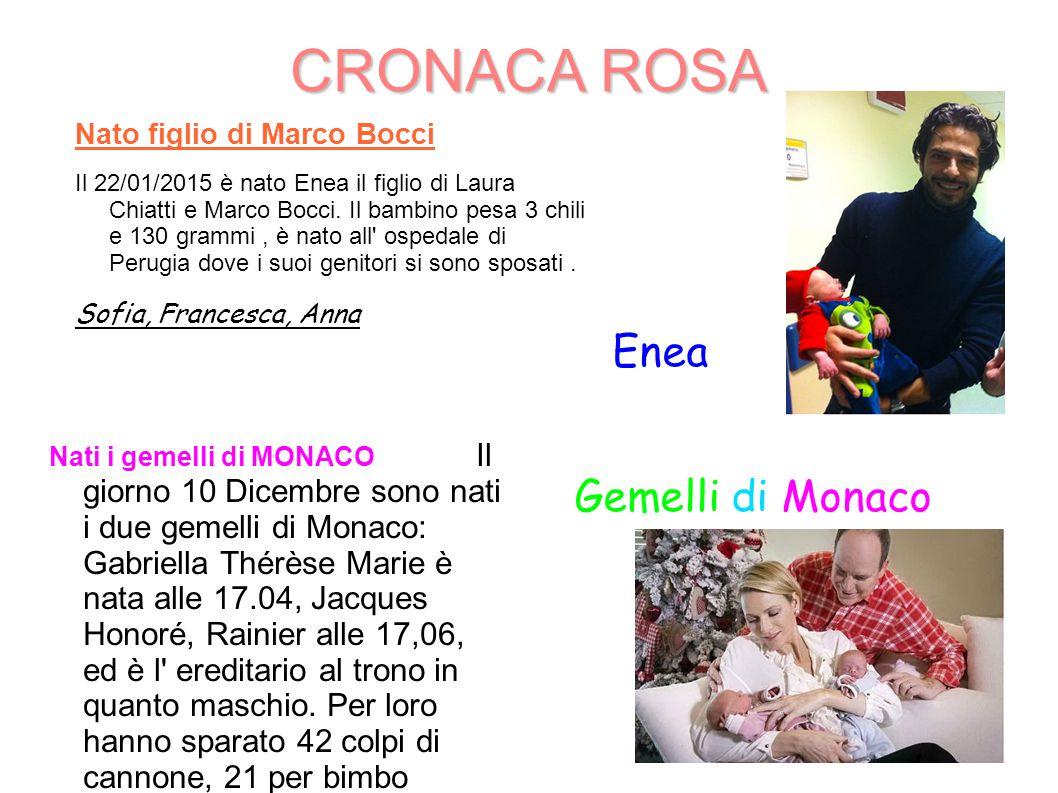 CRONACA ROSA Enea Gemelli di Monaco Nato figlio di Marco Bocci