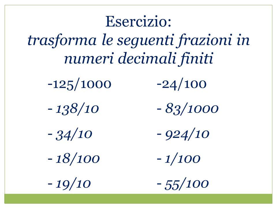 trasforma le seguenti frazioni in numeri decimali finiti
