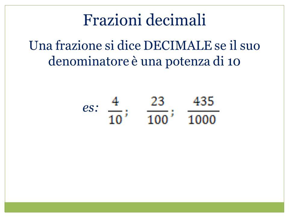 Frazioni decimali Una frazione si dice DECIMALE se il suo denominatore è una potenza di 10 es: