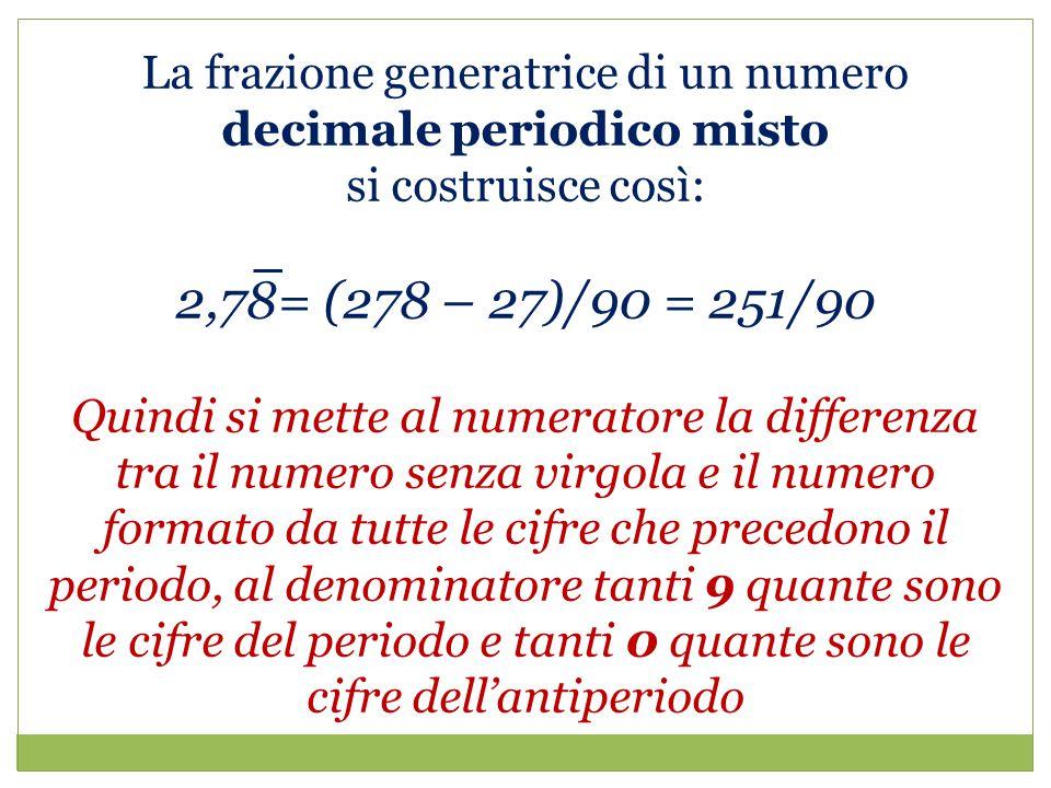 La frazione generatrice di un numero decimale periodico misto