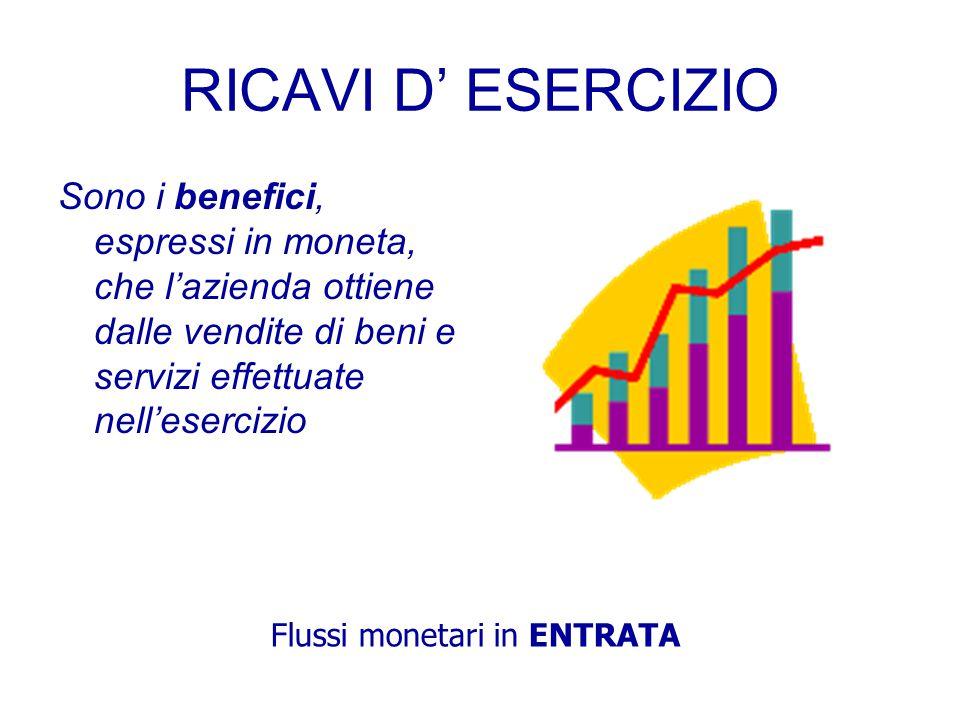 RICAVI D' ESERCIZIO Sono i benefici, espressi in moneta, che l'azienda ottiene dalle vendite di beni e servizi effettuate nell'esercizio.