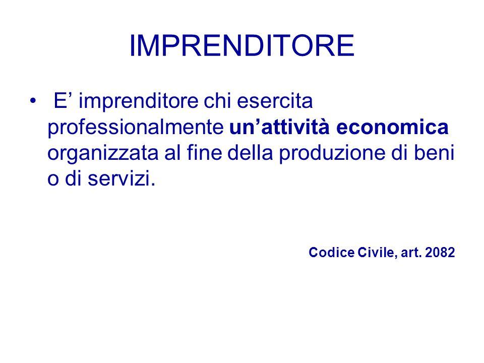 IMPRENDITORE E' imprenditore chi esercita professionalmente un'attività economica organizzata al fine della produzione di beni o di servizi.