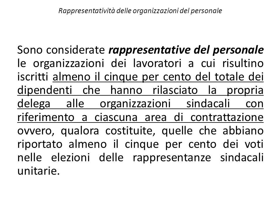Rappresentatività delle organizzazioni del personale