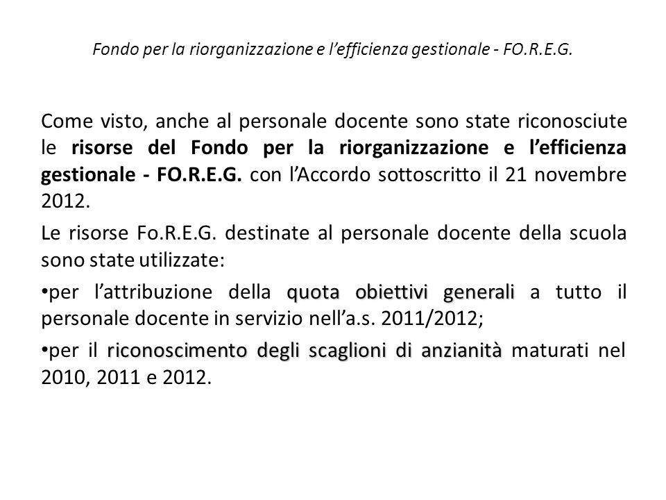 Fondo per la riorganizzazione e l'efficienza gestionale - FO.R.E.G.