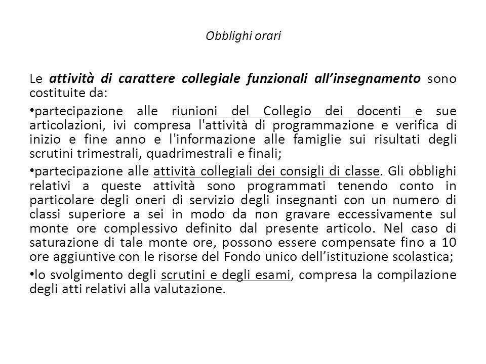 Obblighi orari Le attività di carattere collegiale funzionali all'insegnamento sono costituite da:
