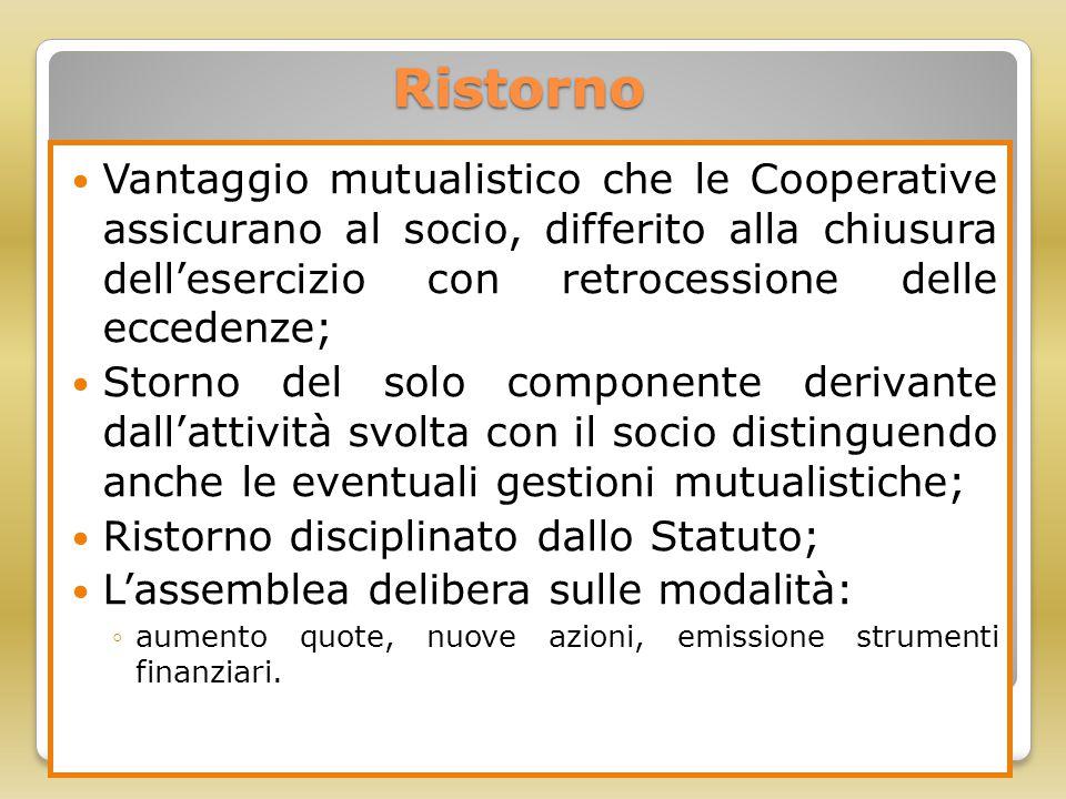 Ristorno Vantaggio mutualistico che le Cooperative assicurano al socio, differito alla chiusura dell'esercizio con retrocessione delle eccedenze;