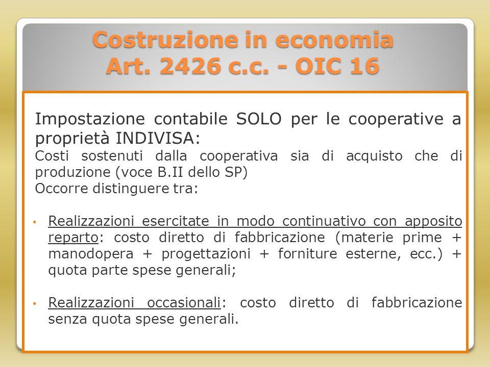 Costruzione in economia Art. 2426 c.c. - OIC 16