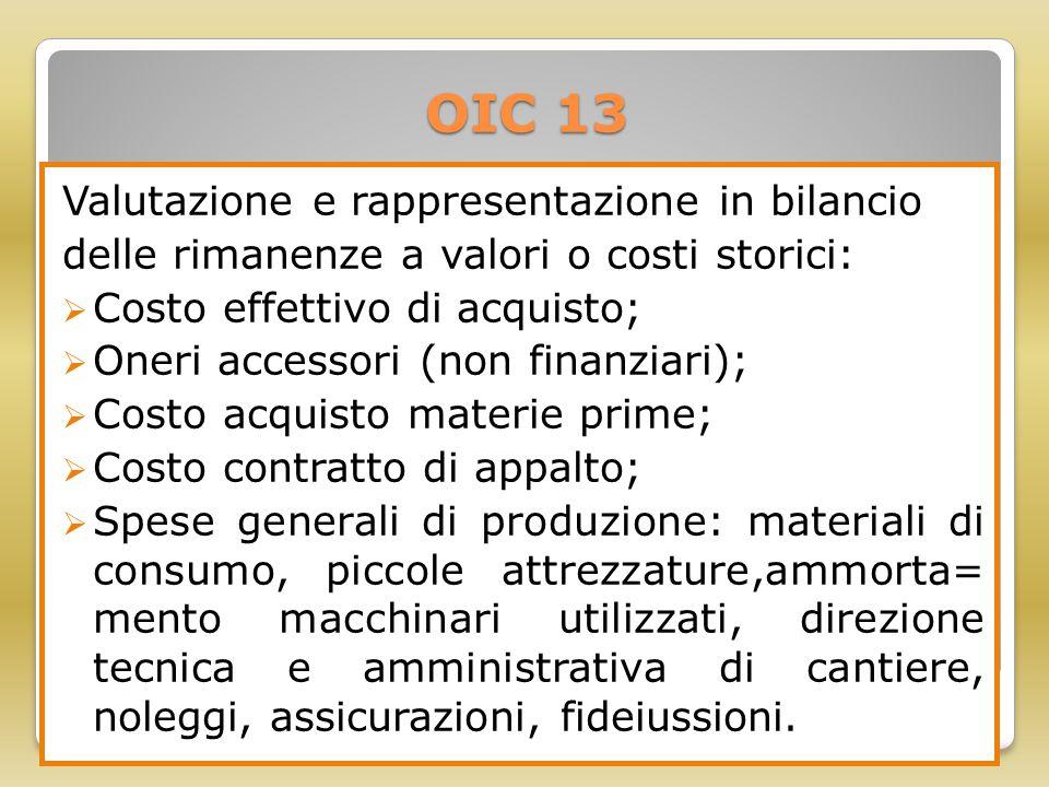 OIC 13 Valutazione e rappresentazione in bilancio