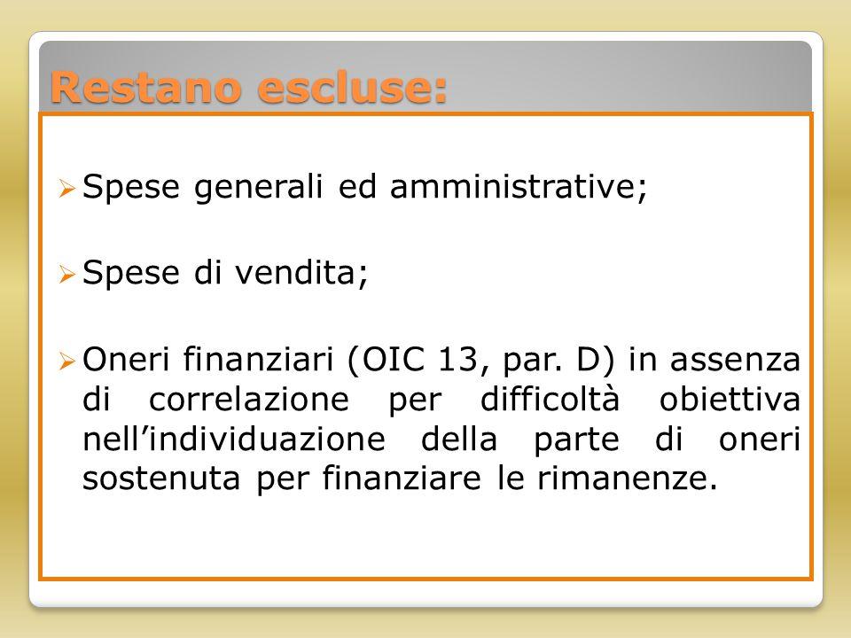 Restano escluse: Spese generali ed amministrative; Spese di vendita;