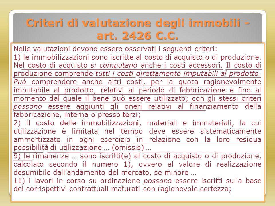 Criteri di valutazione degli immobili - art. 2426 C.C.