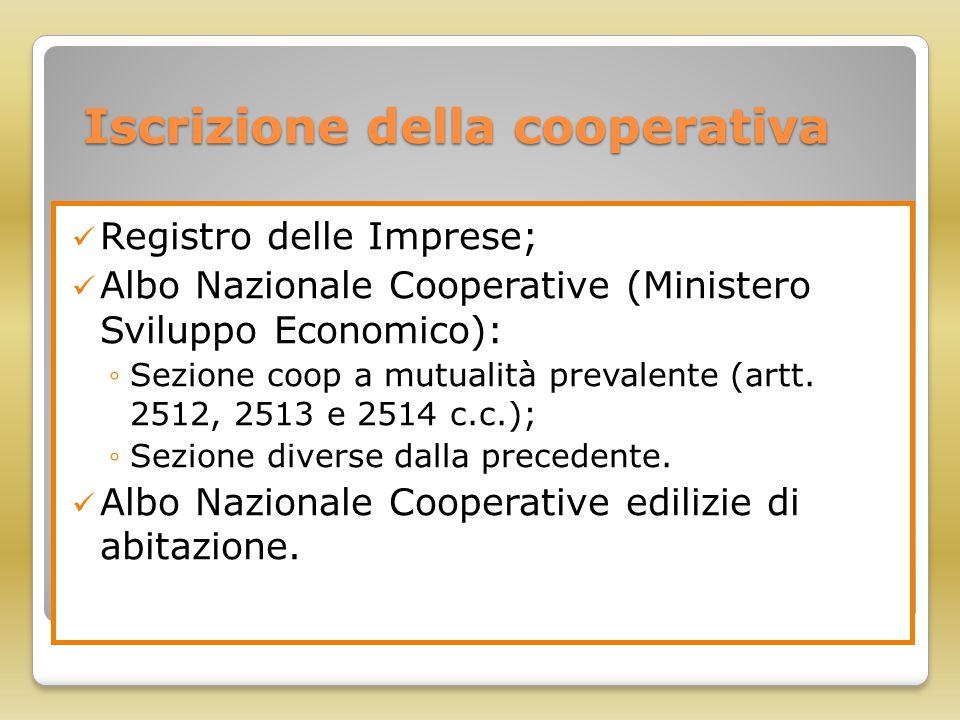 Iscrizione della cooperativa