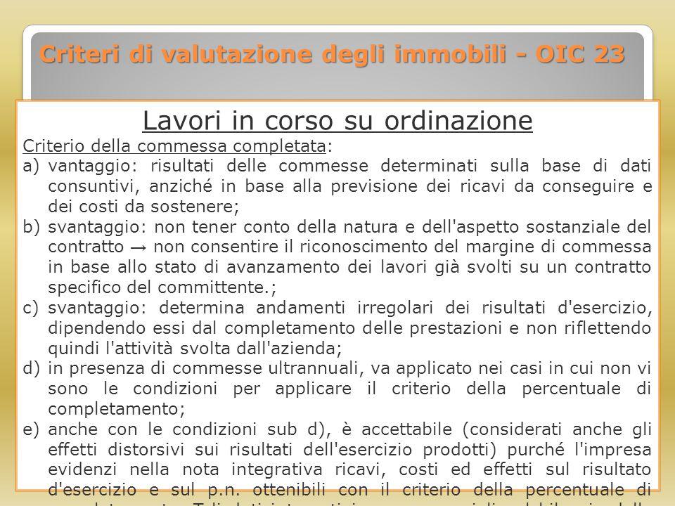 Criteri di valutazione degli immobili - OIC 23