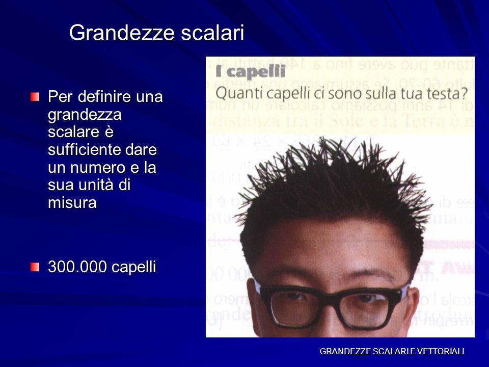 Grandezze scalari Per definire una grandezza scalare è sufficiente dare un numero e la sua unità di misura.