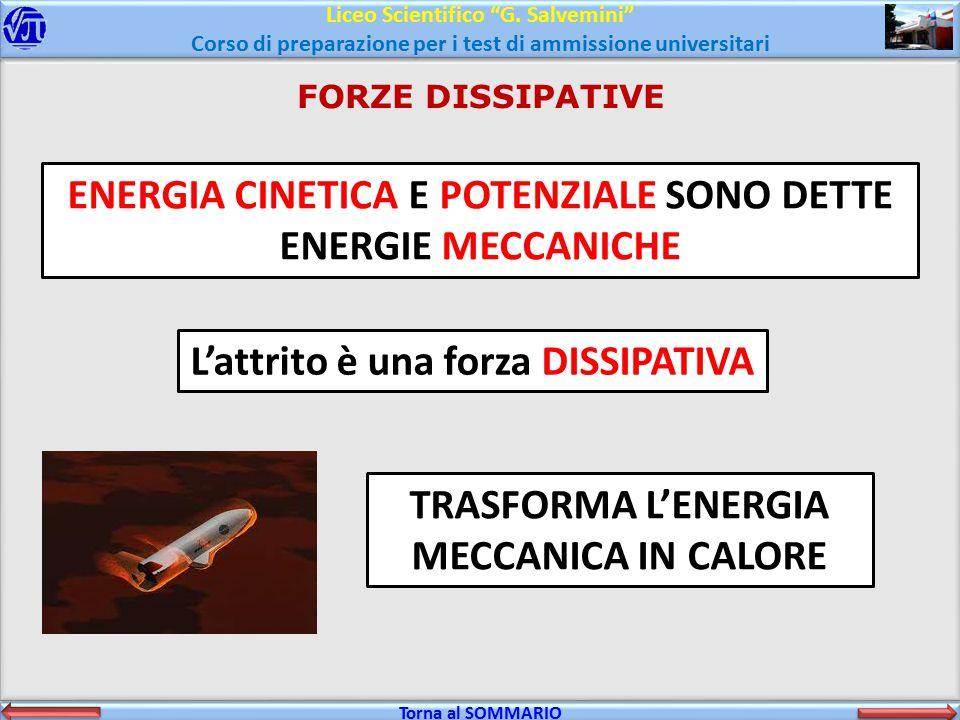 ENERGIA CINETICA E POTENZIALE SONO DETTE ENERGIE MECCANICHE