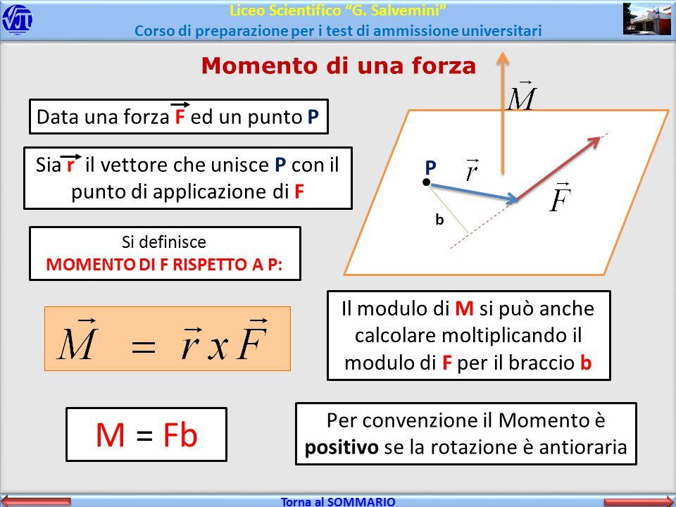 M = Fb Momento di una forza Data una forza F ed un punto P