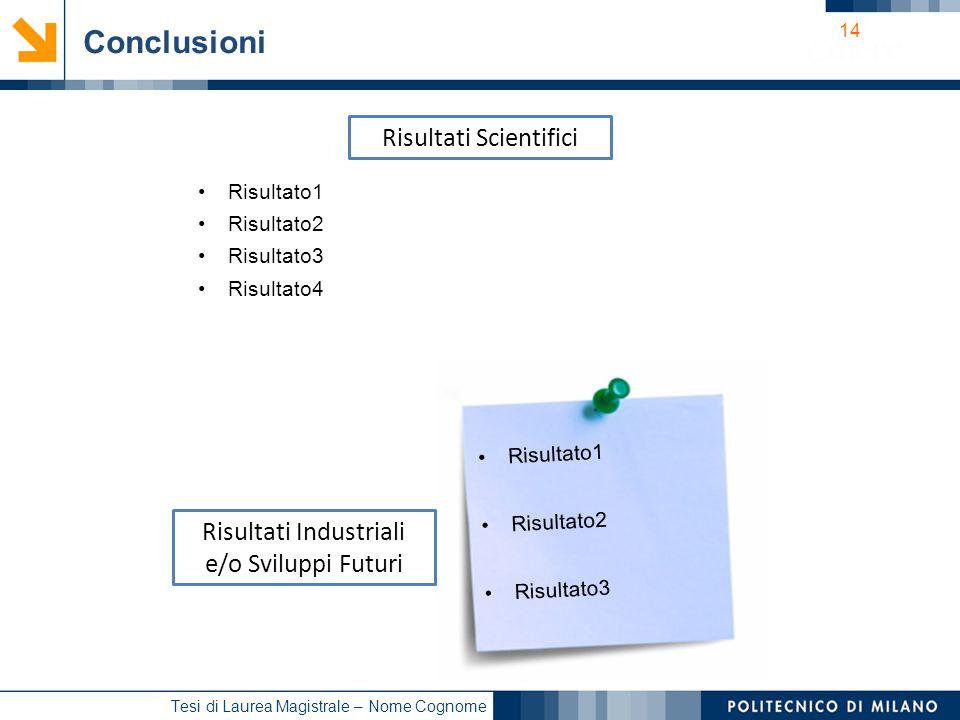 Conclusioni Risultati Scientifici Risultati Industriali