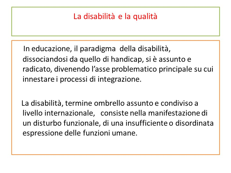 La disabilità e la qualità