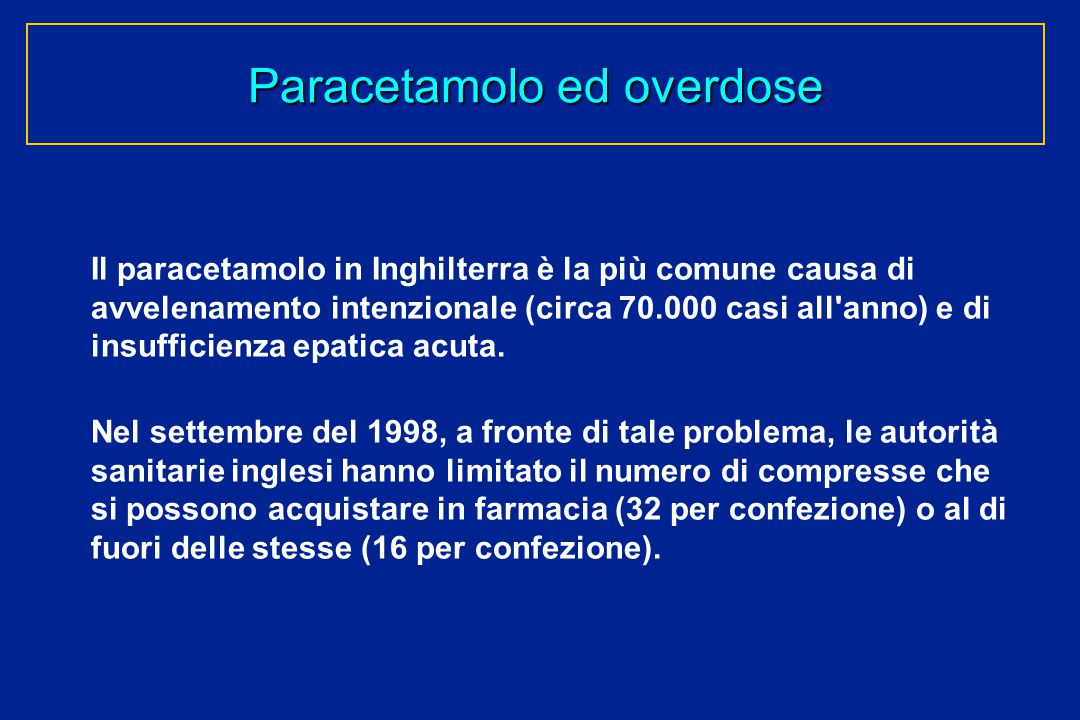 Paracetamolo ed overdose