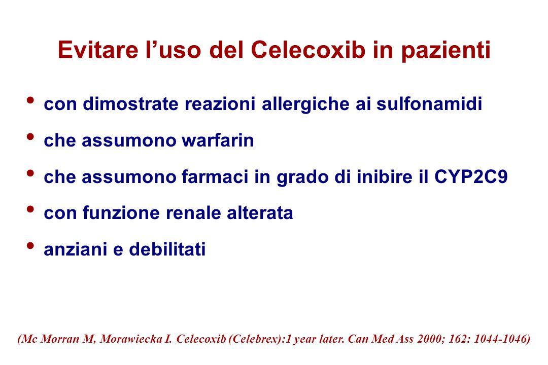 Evitare l'uso del Celecoxib in pazienti