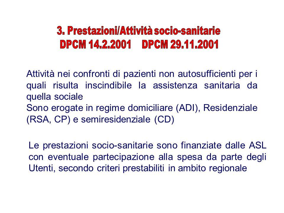 3. Prestazioni/Attività socio-sanitarie