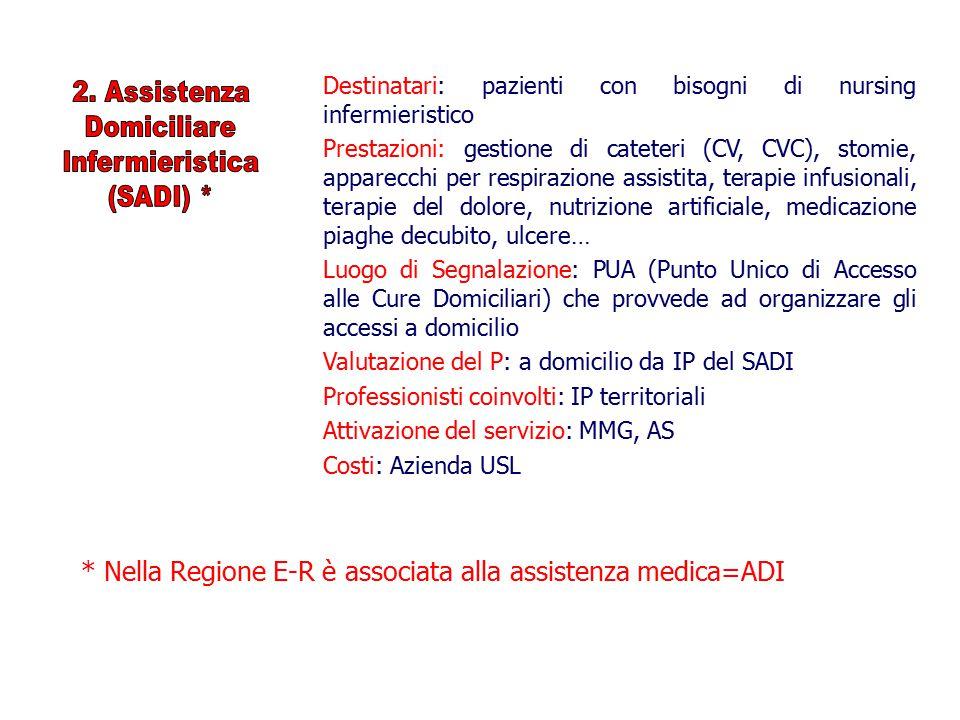 * Nella Regione E-R è associata alla assistenza medica=ADI