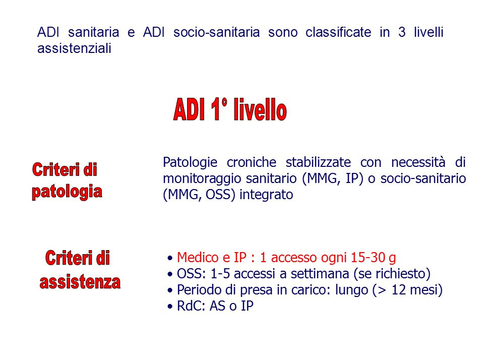 ADI sanitaria e ADI socio-sanitaria sono classificate in 3 livelli assistenziali