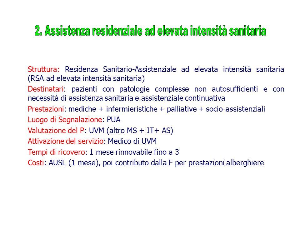 2. Assistenza residenziale ad elevata intensità sanitaria