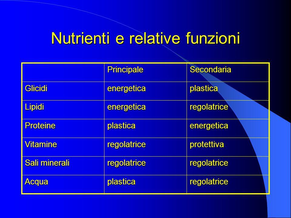 Nutrienti e relative funzioni