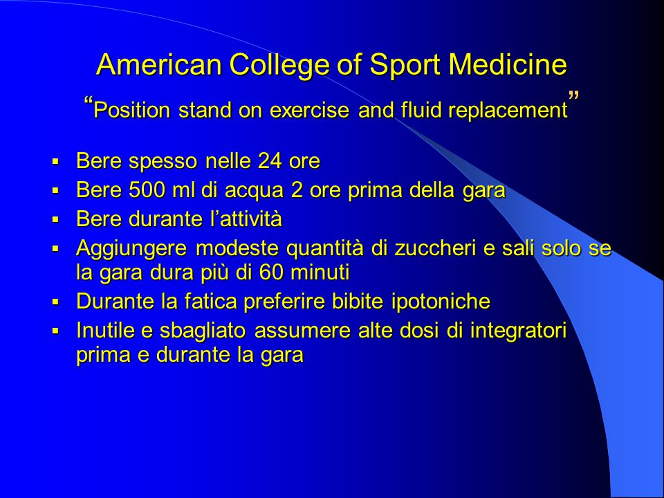 American College of Sport Medicine Position stand on exercise and fluid replacement