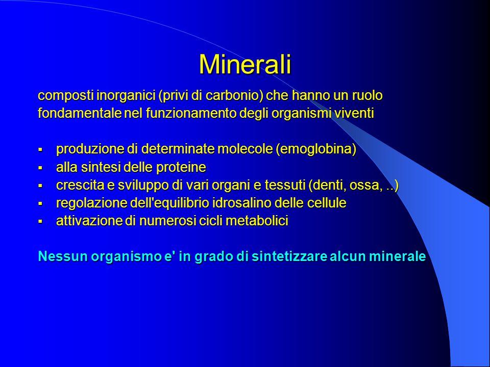 Minerali composti inorganici (privi di carbonio) che hanno un ruolo