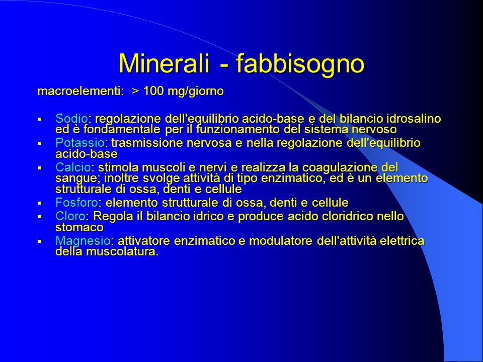 Minerali - fabbisogno macroelementi: > 100 mg/giorno