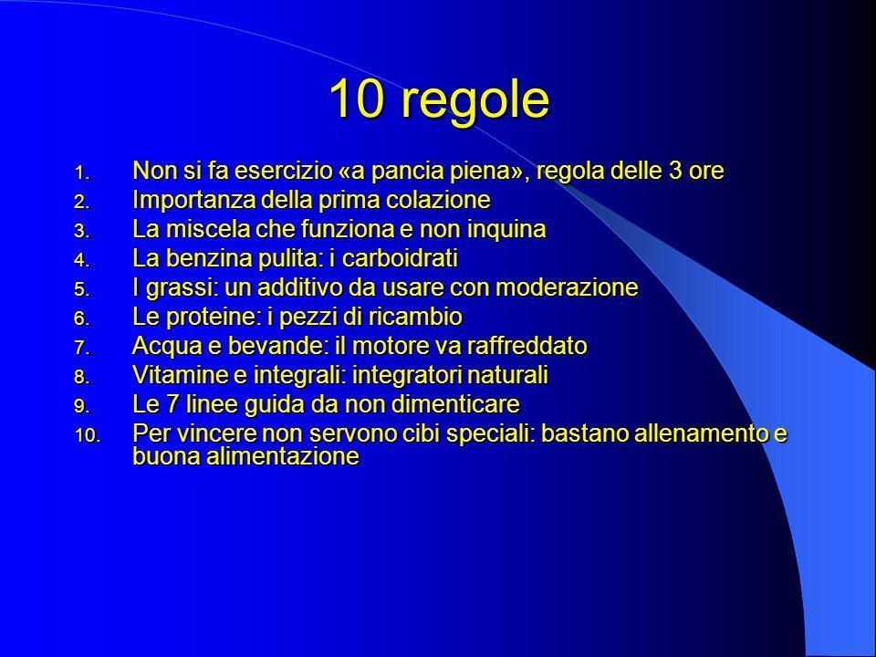 10 regole Non si fa esercizio «a pancia piena», regola delle 3 ore