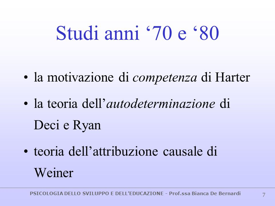 Studi anni '70 e '80 la motivazione di competenza di Harter