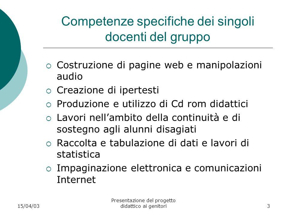 Competenze specifiche dei singoli docenti del gruppo