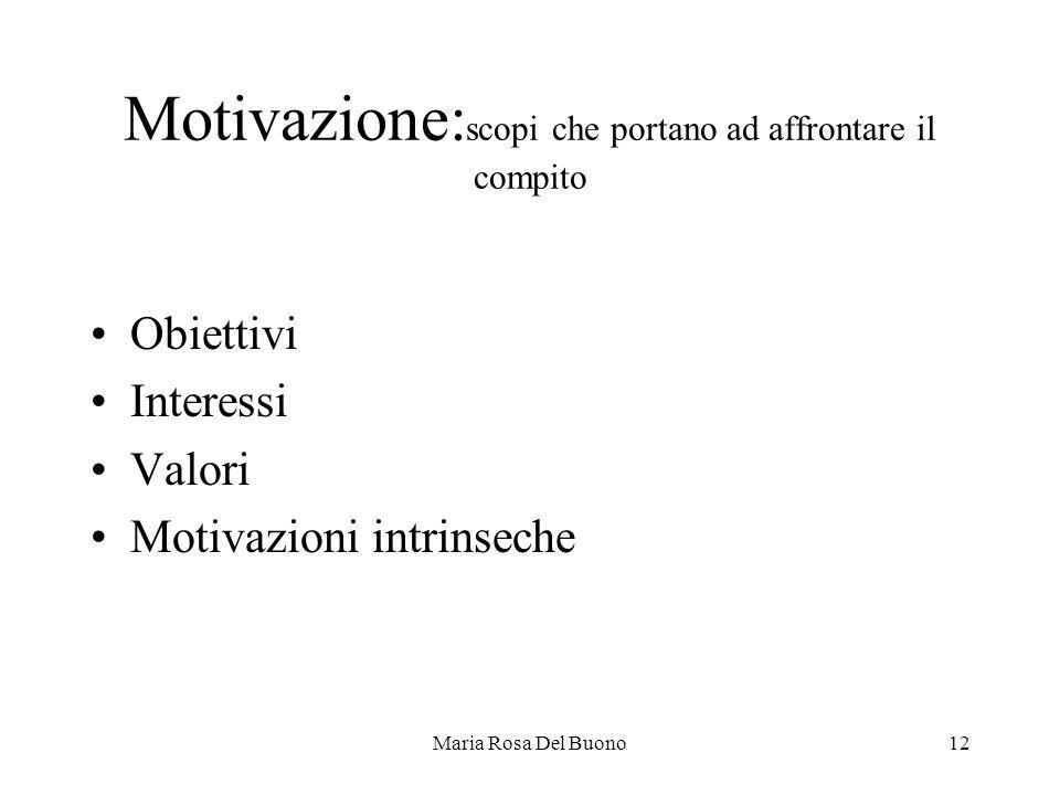 Motivazione:scopi che portano ad affrontare il compito
