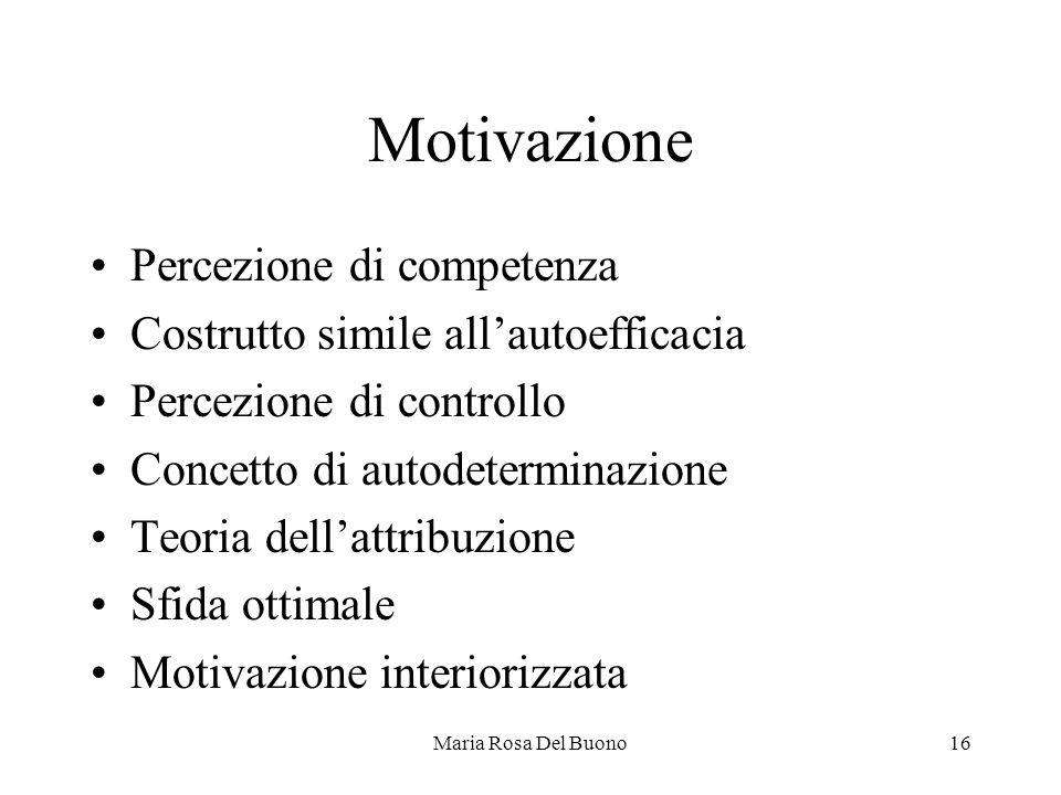 Motivazione Percezione di competenza
