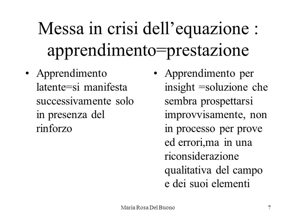 Messa in crisi dell'equazione : apprendimento=prestazione