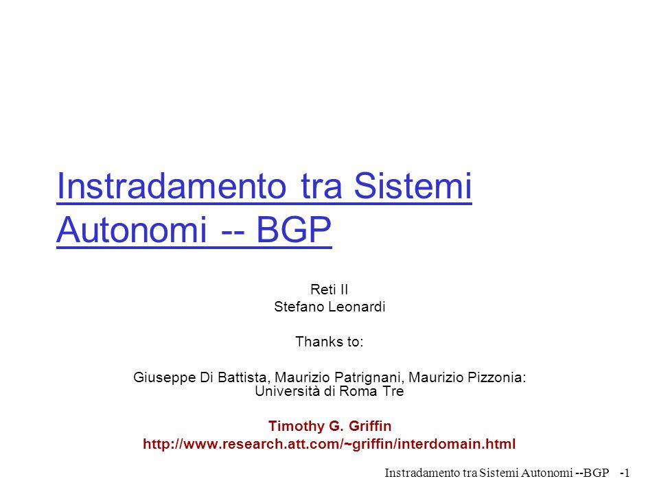 Instradamento tra Sistemi Autonomi -- BGP