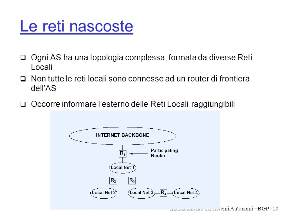 Le reti nascoste Ogni AS ha una topologia complessa, formata da diverse Reti Locali.