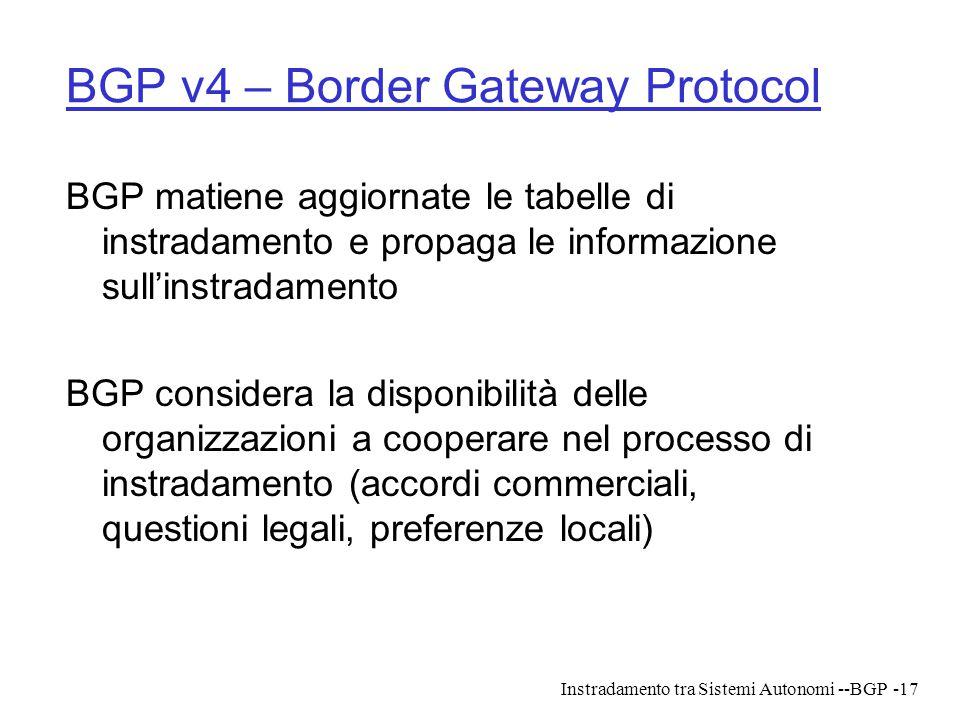 BGP v4 – Border Gateway Protocol