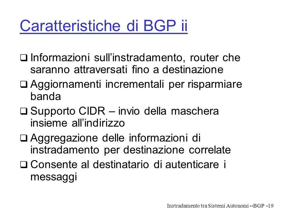 Caratteristiche di BGP ii